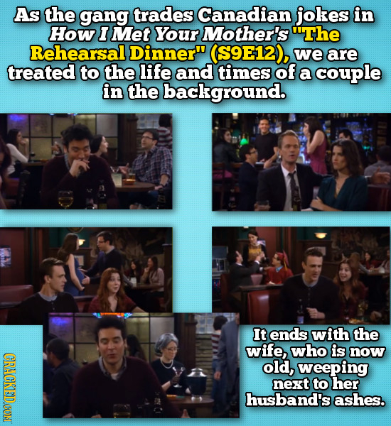 As the gang trades Canadian jokes in How I Met Your Mother's The Rehearsal Dinner (S9E12), we are treated to the life and times of a couple in the b