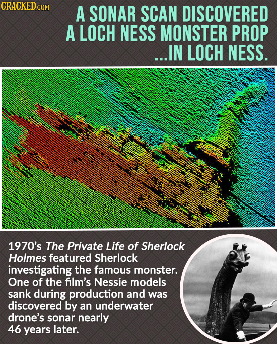 CRACKED cO A SONAR SCAN DISCOVERED A LOCH NESS MONSTER PROP ...IN LOCH NESS. 1970's The Private Life of Sherlock Holmes featured Sherlock investigatin
