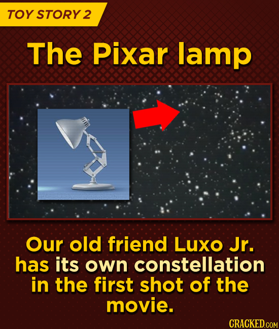 TOY STORY 2 The Pixar lamp Our old friend Luxo Jr. has its own constellation in the first shot of the movie.