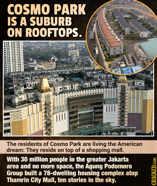 COSMO PARK IS A SUBURB ON ROOFTOPS. IBLIF ThamrinCity The residents of Cosmo Park are living the American dream: They reside on top of a shopping mall