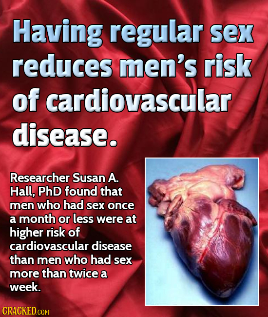 Having regular sex reduces men's risk of cardiovascular disease. Researcher Susan A. Hall, PHD found that men who had sex once a month or less were at