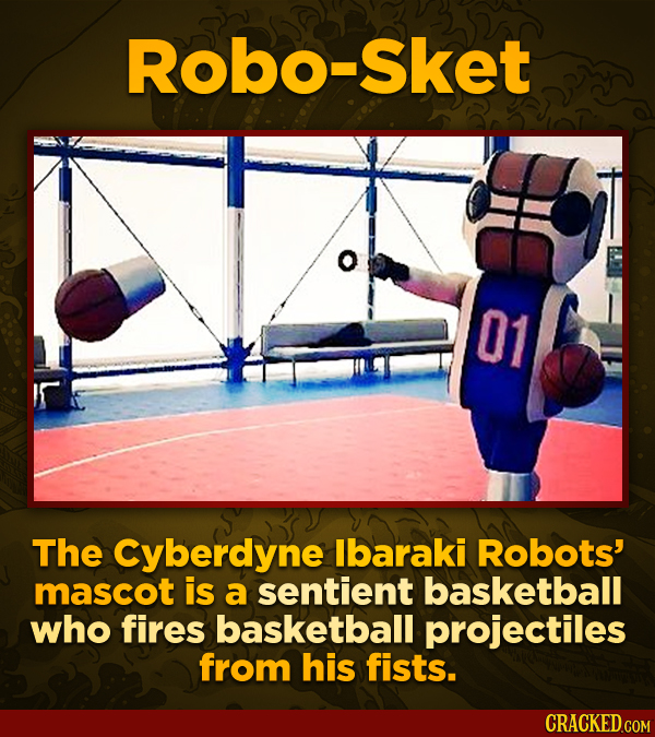 Robo-Sket 01 The Cyberdyne lbaraki Robots' mascot is a sentient basketball who fires basketball projectiles from his fists.