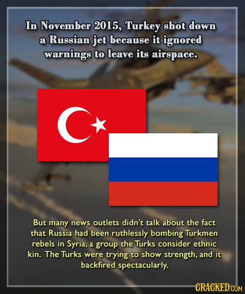 In November 2015, Turkey shot down a Russian jet because it ignored warnings to leave its airspace. But many news outlets didn't talk about the fact t