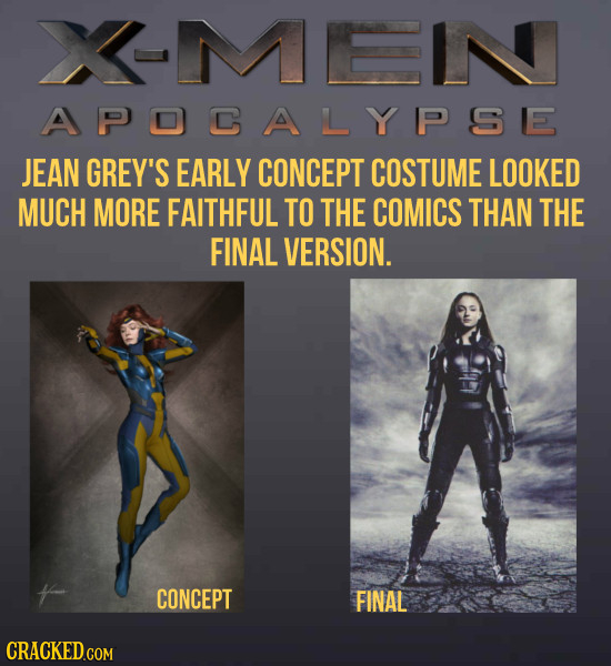 XMEIN APOCALYPSE JEAN GREY'S EARLY CONCEPT COSTUME LOOKED MUCH MORE FAITHFUL TO THE COMICS THAN THE FINAL VERSION. CONCEPT FINAL