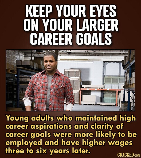 KEEP YOUR EYES ON YOUR LARGER CAREER GOALS Young adults who maintained high career aspirations and clarity of career goals were more likely to be empl