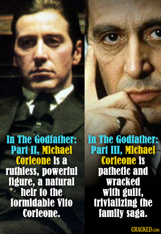 In The Godfather: In The Godfather: Part l, Michael Part Ill, Michael Corleone is a Corleone is ruthless, powerful pathetic and figure, a natural wrac