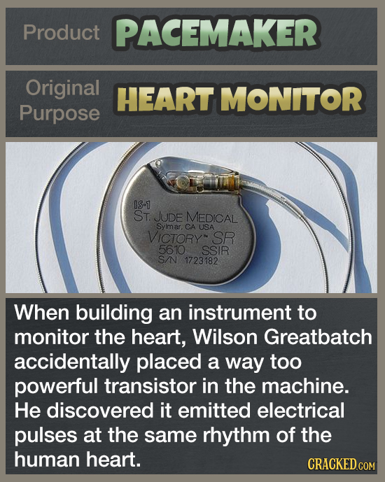 Product PACEMAKER Original HEART MONITOR Purpose OS-1 ST. JUDE MEDICAL Syimar. CA USA VICToRY SR 5610 SSIR SNN 1723182 When building an instrument to
