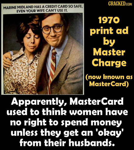CRACKED.COM MARINE MIDLAND HAS A CREDIT CARD so SAFE, EVEN YOUR WIFE CAN'T USE IT. 1970 print ad by Master Charge (now known as MasterCard) Apparently