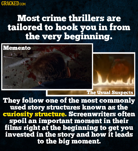 Most crime thrillers are tailored to hook you in from the very beginning. Memento The Usual Suspects They follow one of the most commonly used story s