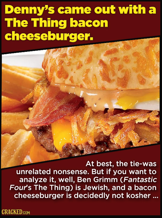 Terrible Movie Merchandise The Studios Didn't Think Through - Denny's came out with a The Thing bacon cheeseburger.