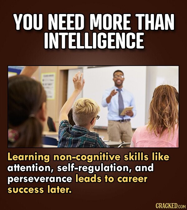YOU NEED MORE THAN INTELLIGENCE Learning non-cognitive skills like attention, self-regulation, and perseverance leads to career success later. CRACKED