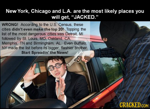 New York, Chicago and L.A. are the most likely places you will get, JACKED. WRONG! According to the U.S. Census, these cities didn't even make the t