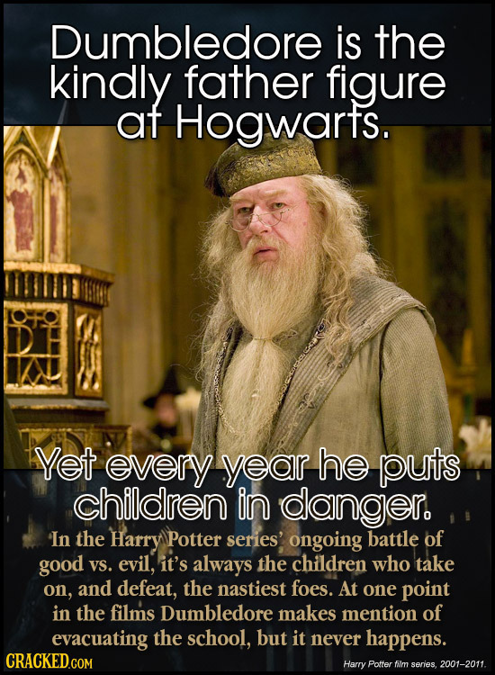 Dumbledore is the kindly father figure at Hogwarts. Yet every year he puts children in danger. In the Harry Potter series' ongoing battle of good VS.