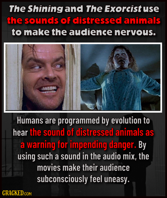 The Shining and The Exorcist use the sounds of distressed animals to make the audience nervous. 000066 Humans are programmed by evolution to hear the