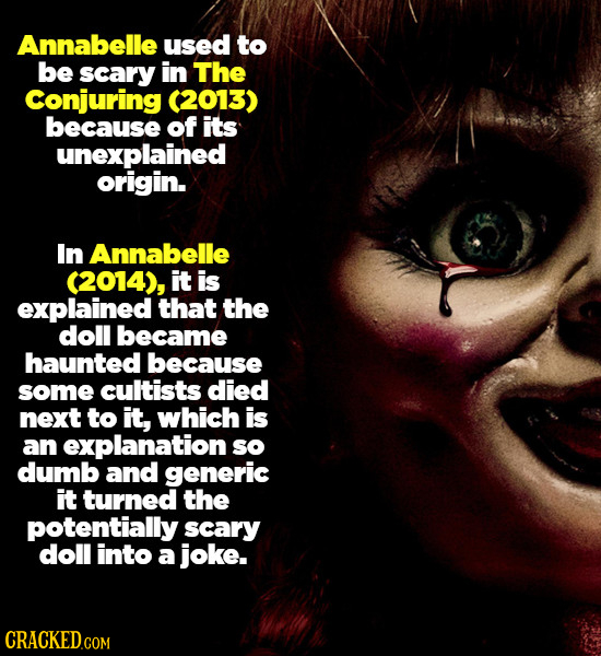 Annabelle used to be scary in The Conjuring (2013) because of its unexplained origin. In Annabelle (2014), it is explained that the doll became haunte