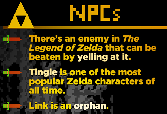 NPES There's an enemy in The Legend of Zelda that can be beaten by yelling at it. Tingle is one of the most popular Zelda characters of all time. Link