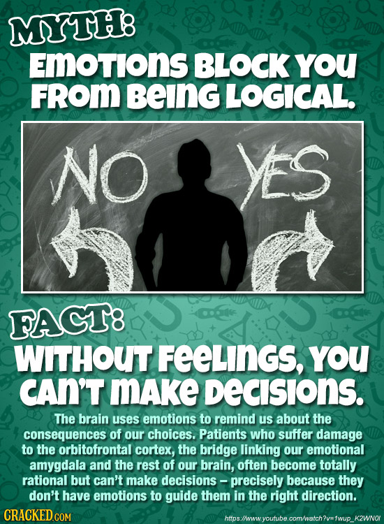 MYTH8 EMotions BLOCK YoU FROm BeING LOGICAL. NO Ys FAGT8 WITHOUT FEELINGS, YoU CAN'T MAke DECISIONS. The brain uses emotions to remind us about the co