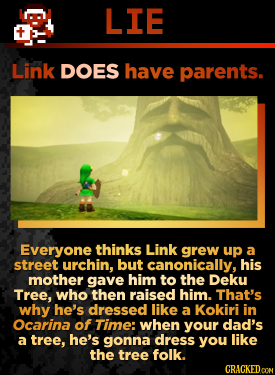 LIE Link DOES have parents. Everyone thinks Link grew up a street urchin, but canonically, his mother gave him to the Deku Tree, who then raised him.