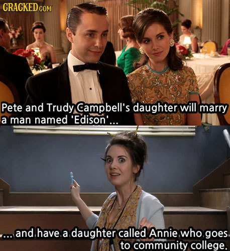 Pete and Trudy Campbell's daughter will marry a man named 'Edison'... ...and.have. a daughter called Annie who goes to community college.
