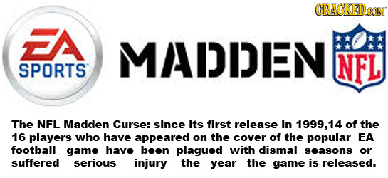GRACKED.OON FA MADDEN NFL SPORTS The NFL Madden Curse: since its first release in 1999, 14 of the 16 players who have appeared on the cover of the pop
