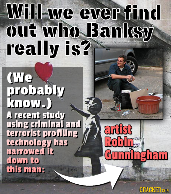 Will we ever find out who Banksy really is? (We probably know.) A recent study using criminal and artist terrorist profiling technology has Robin. nar