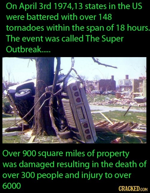 On April 3rd 1974,13 states in the US were battered with over 148 tornadoes within the span of 18 hours. The event was called The Super Outbreak.....