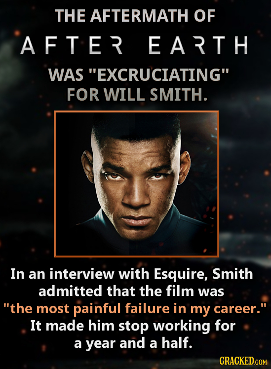 THE AFTERMATH OF AFTER EARTH WAS EXCRUCIATING FOR WILL SMITH. In an interview with Esquire, Smith admitted that the film was the most painful failu