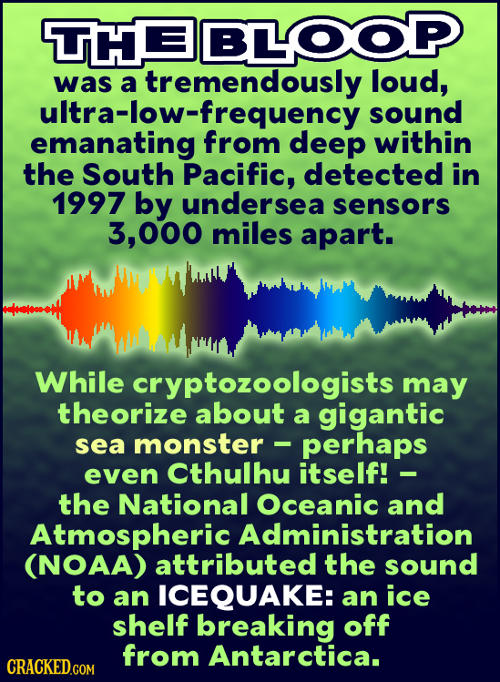 HE BLOOP was a tremendously loud, ultra-ttino from sound deep within the South Pacific, detected in 1997 by undersea sensors 3.000 miles apart. While