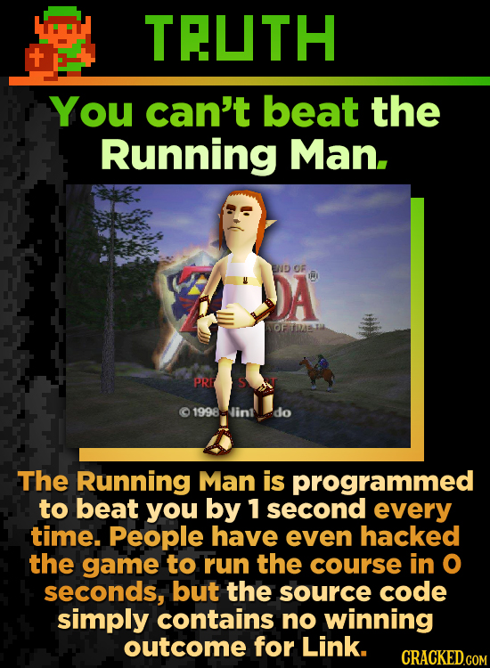 TRUTH You can't beat the Running Man. DA ENID OF R OF T PRE S 1998-in.do The Running Man is programmed to beat you by 1 second every time. People have