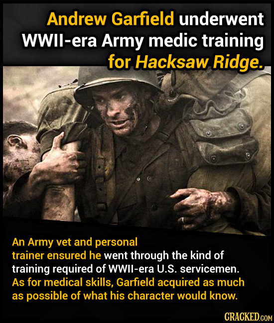 Andrew Garfield underwent WWll-era Army medic training for Hacksaw Ridge. An Army vet and personal trainer ensured he went through the kind of trainin