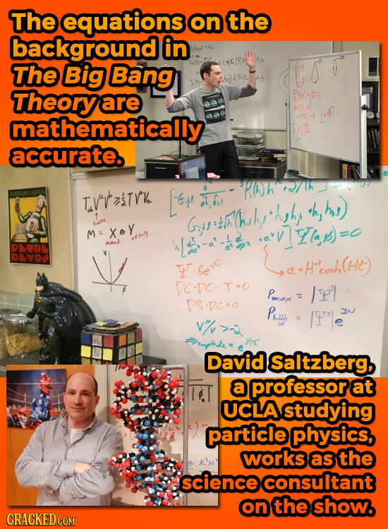 The equations on the background in The Big Bang EE. Theory are 2M mathematically 4 accurate. 9PA)h TvavTro 6+ au hyhy +h, hy Gtl'l'hushs tla MXoy vls)