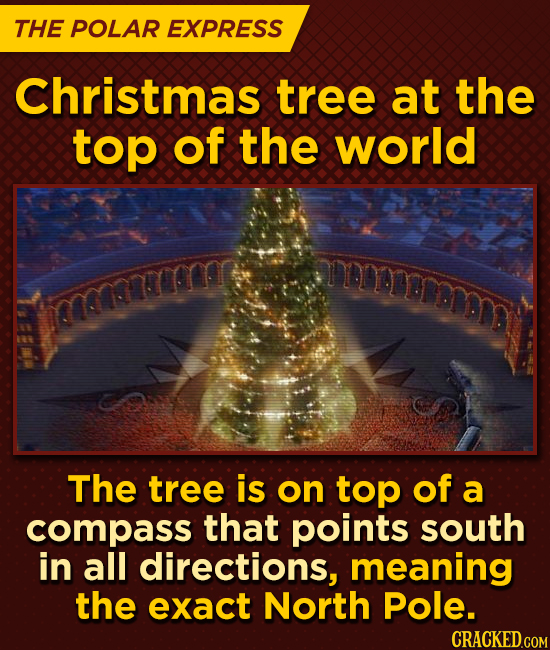 THE POLAR EXPRESS Christmas tree at the top of the world aemermmm EYesacrm The tree is on tOp of a compass that points south in all directions, meanin