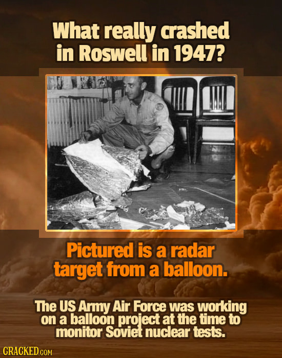 What really crashed in Roswell in 1947? Pictured is a radar target from a balloon. The US Army Air Force was working on a balloon project at the time