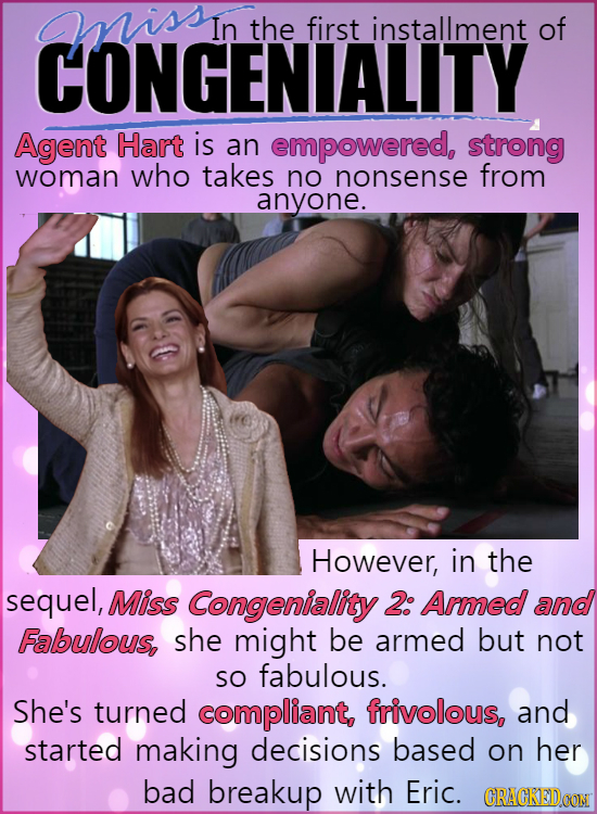 aissn In the first installment of CONGENIALITY Agent Hart is an empowered, strong woman who takes no nonsense from anyone. However, in the sequel, Mis