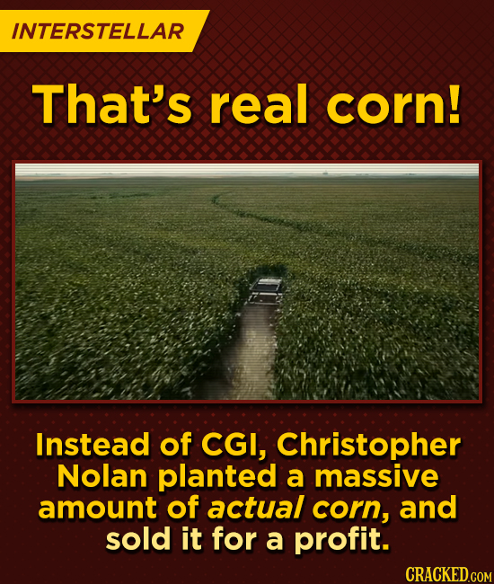 INTERSTELLAR That's real corn! Instead of CGI, Christopher Nolan planted a massive amount of actual corn, and sold it for a profit.