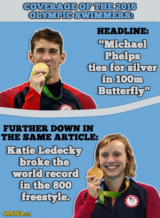 COVERAGE OF THE 2016 OLYMPIC SWIMMERS HEADLINE: Michael Phelps ties for silver in 100m 02016 Butterfly FURTHER DOWN IN THE SAME ARTICLE: Katie Ledec