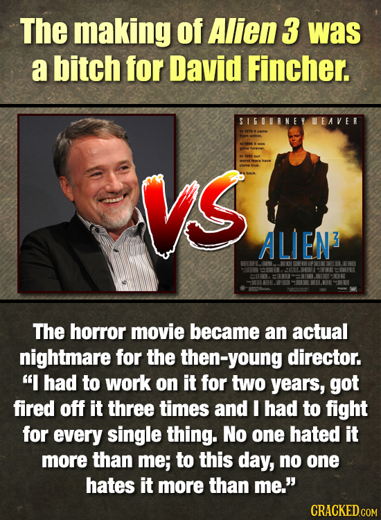 The making of Alien 3 was a bitch for David Fincher. SIGURNEY WEAVER gone orever. vs In 2202 04 NaVE ALIEN3 The horror movie became an actual nightmar