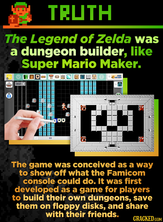 TEUTH The Legend of Zelda was a dungeon builder, like Super Mario Maker. 002 5 The game was conceived as a way to show off what the Famicom console co