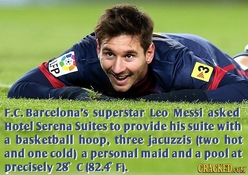 LFP E F.C. Barcelona's superstar Leo Messi asked Hotel Serena Suites to provide his suite with a basketball hoop, three jacuzzis (two hot and one cold