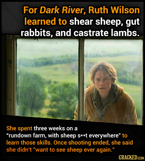 For Dark River, Ruth Wilson learned to shear sheep, gut rabbits, and castrate lambs. She spent three weeks on a rundown farm, with sheep S**t everywh