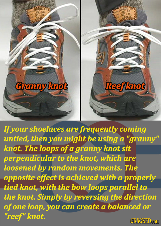 GLpe MEo Granny knot Reefl knot If your shoelaces are frequently coming untied, then you might be using a granny knot. The loops of a granny knot si