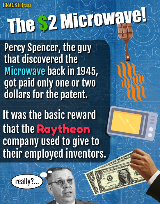 The $2 Microwave! Percy Spencer, the guy that discovered the Microwave back in 1945, got paid only one or two ID dollars for the patent. It was the ba
