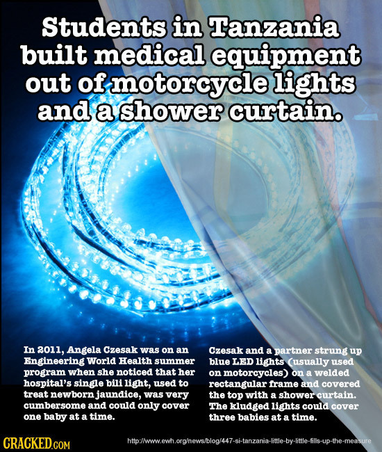 Students in Tanzania built medical equipment out of motorcycle lights and a shower curtain. In 2011, Angela Czesak was on an Czesak and a partner stru