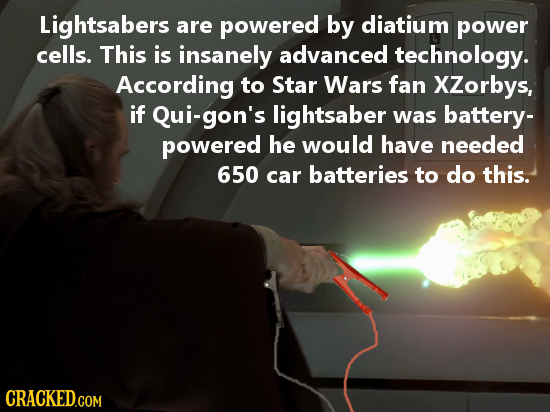 Lightsabers are powered by diatium power cells. This is insanely advanced technology. According to Star Wars fan XZorbys, if Qui-gon's lightsaber was