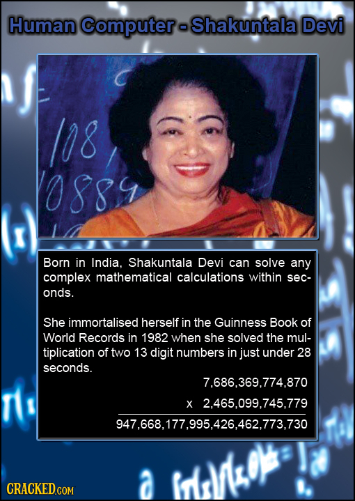 Human Computera Shakuntala Devi /08 088 Born in India, Shakuntala Devi can solve any complex mathematical calculations within sec- onds. She immortali