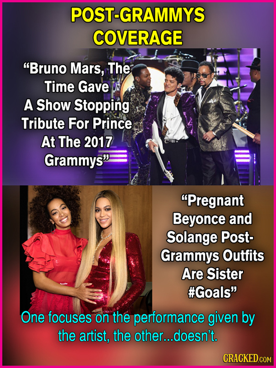 POST-GRAMMYS COVERAGE Bruno Mars, The Time Gave A Show Stopping Tribute For Prince At The 2017 Grammys Pregnant Beyonce and Solange Post- Grammys O