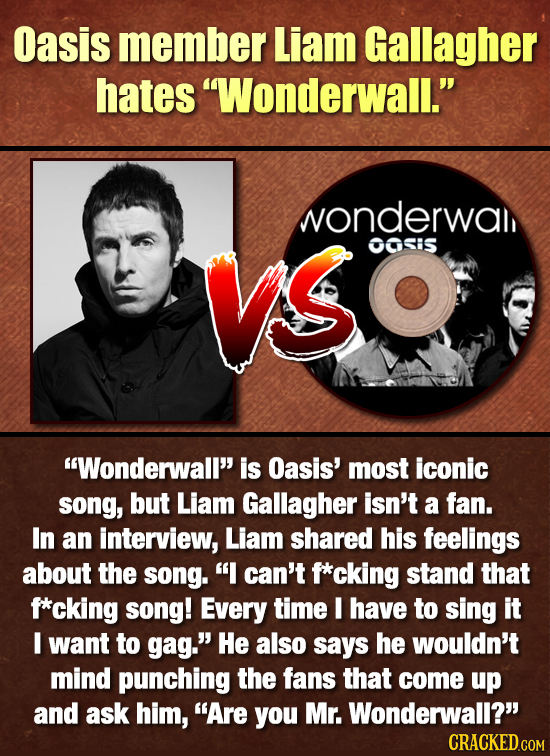 Oasis member Liam Gallagher hates Wonderwall. wonderwal VSO OOSiS Wonderwall is Oasis' most iconic song, but Liam Gallagher isn't a fan. In an int