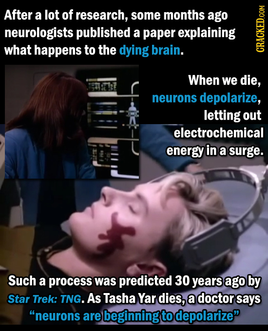 After a lot of research, some months ago neurologists published a paper explaining what happens to the dying brain. CRAtN When we die, neurons depolar