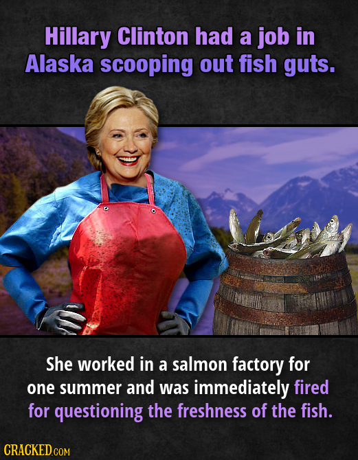 Hillary Clinton had a job in Alaska scooping out fish guts. She worked in a salmon factory for one summer and was immediately fired for questioning th