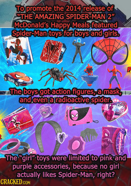 To promote the 2014 release of THE AMAZING SPIDER-MAN 2 McDonald's Happy Meals featured Spider-Man toys for boys and girls. The boys got action figu